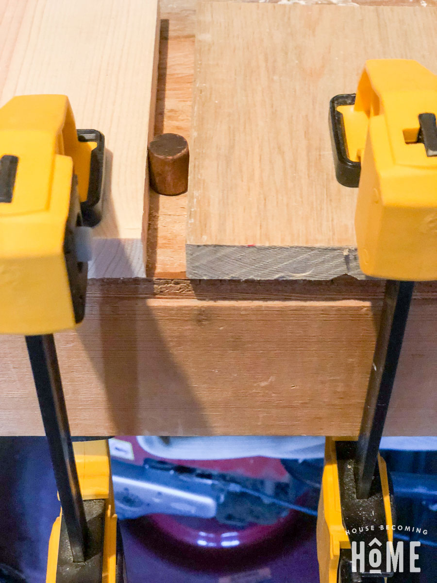 clamping dowel to make drawer knobs