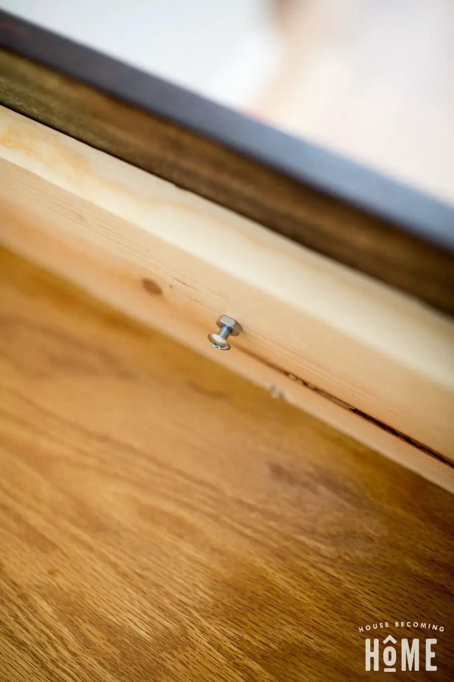 DIY drawer knob screwed into drawer