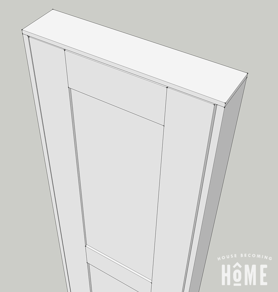 3D Sketch of DIY Door Close Up on Door Frame