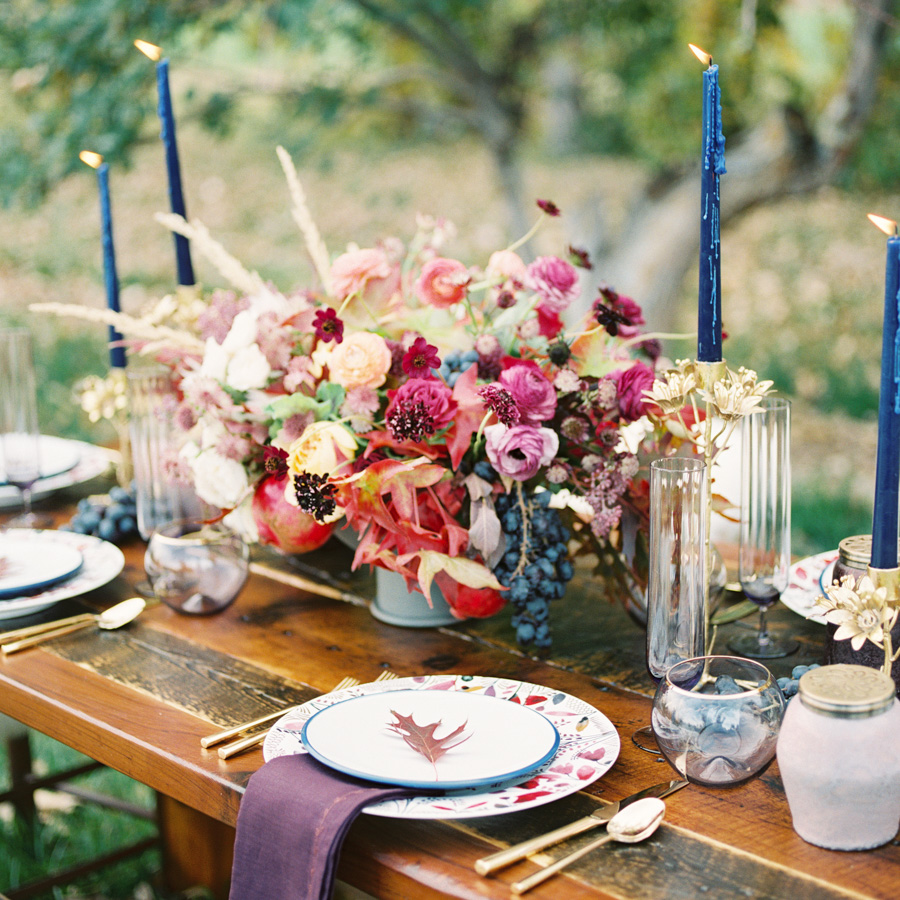Fall Flowers and Tablescape for Thanksgiving Feast : photo by Callie Hobbs Photography