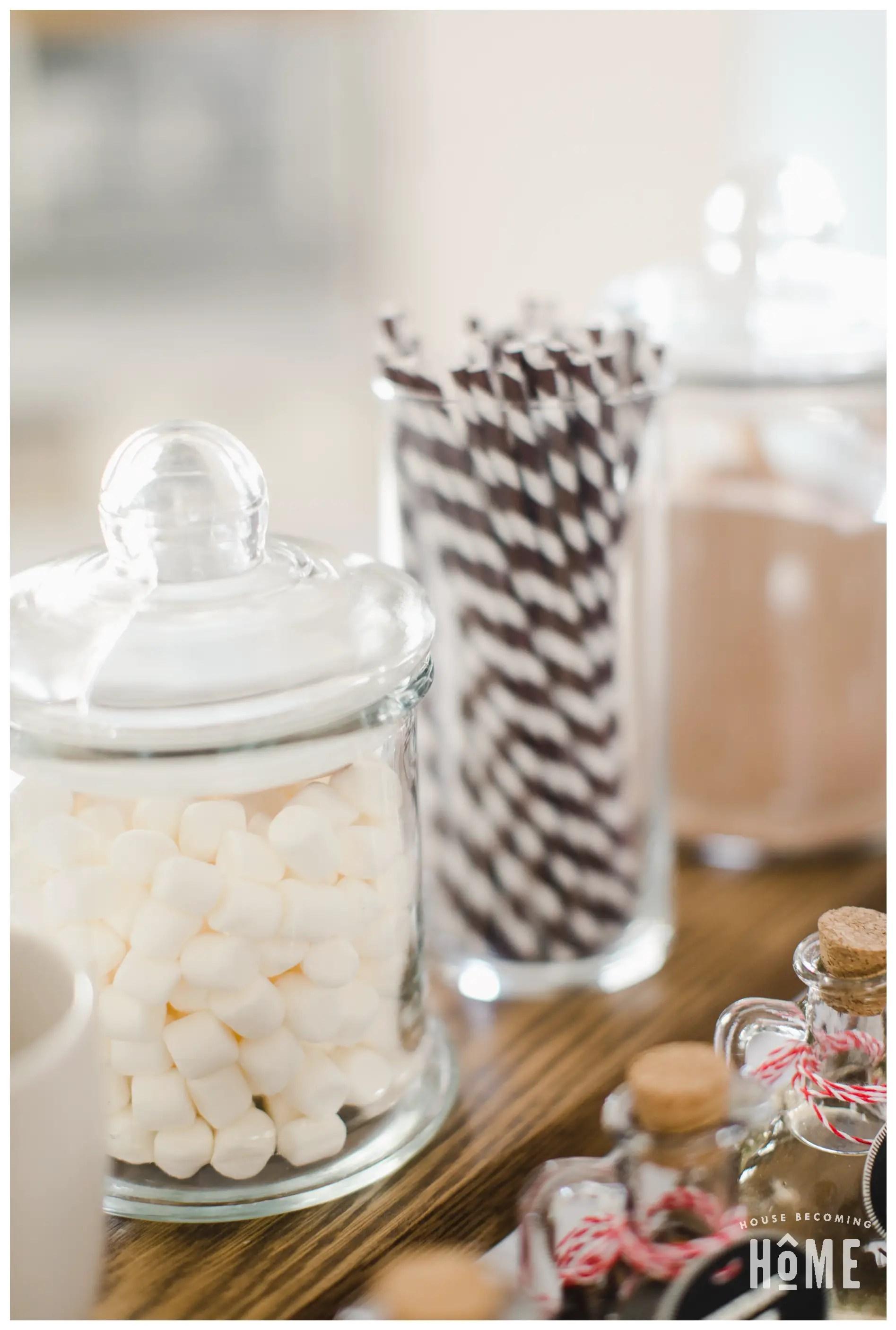 Hot Cocoa Bar Mini Marshmallows in Large Glass Jar