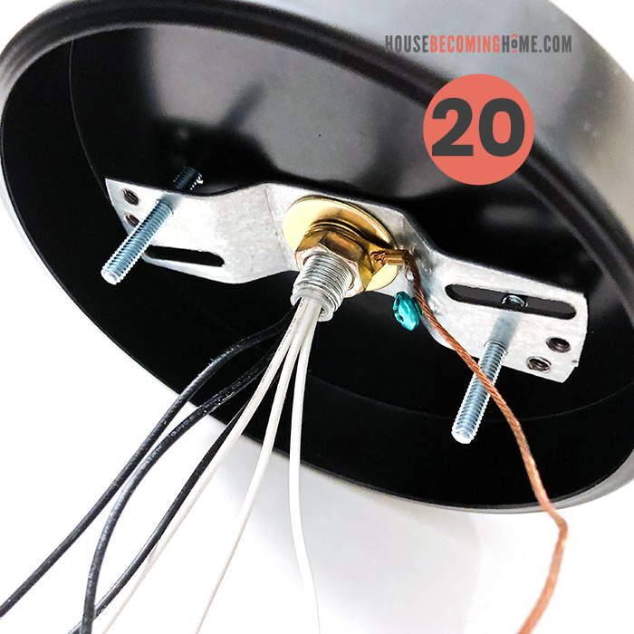 How to make a modern bathroom light fixture. How to wire a light fixture--view from the back side with black, white and copper wires