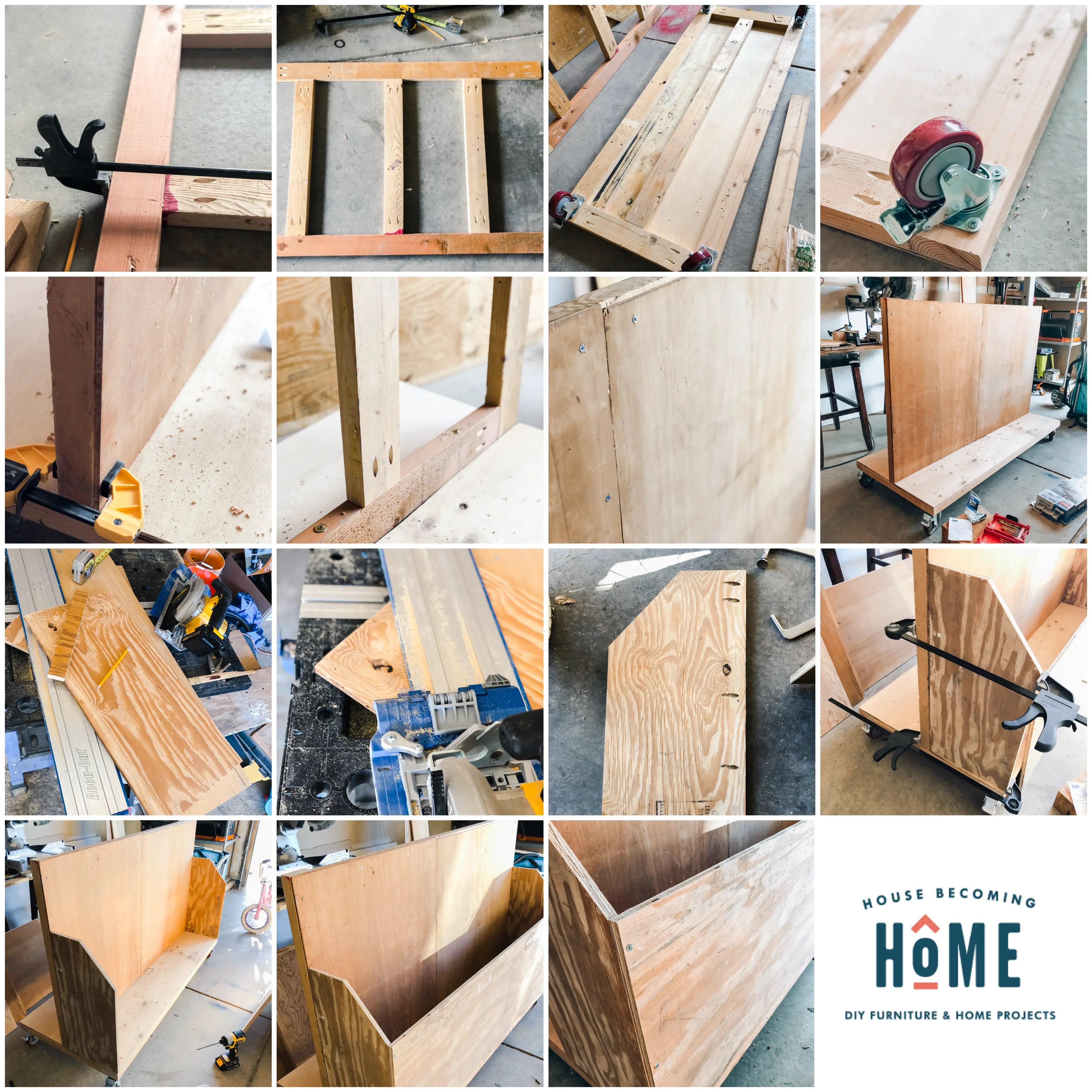 Process of Building a DIY Scrap Wood Organizer Cart