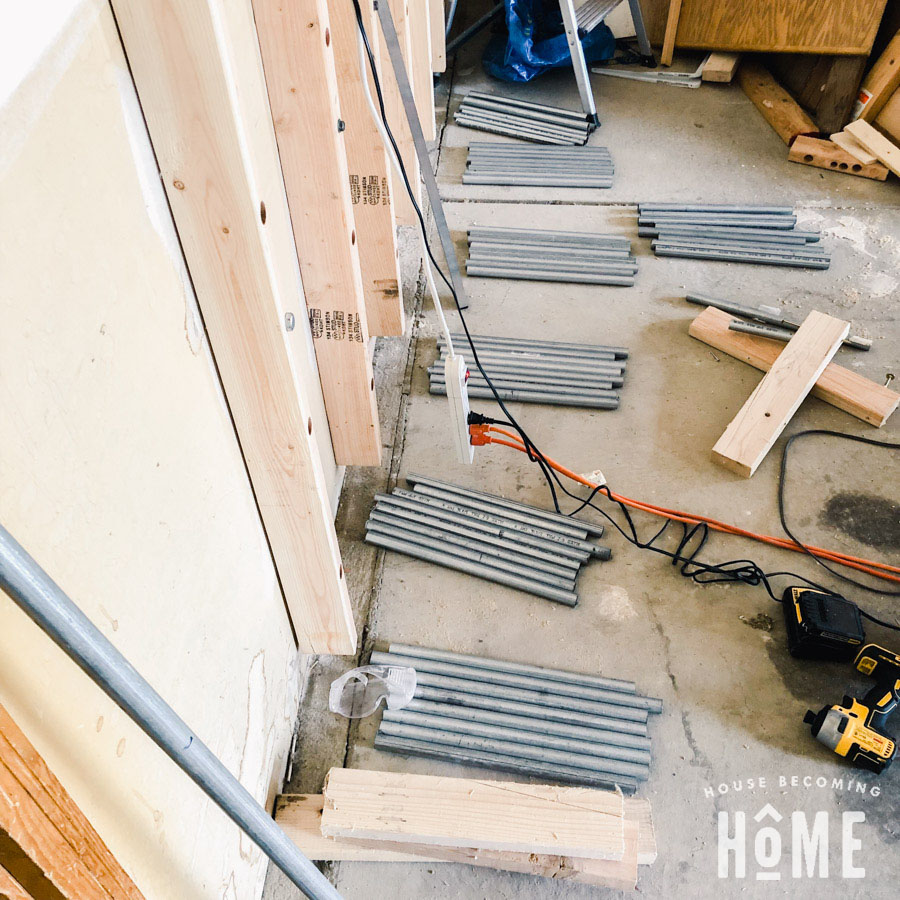 Conduit sections for DIY Lumber Rack