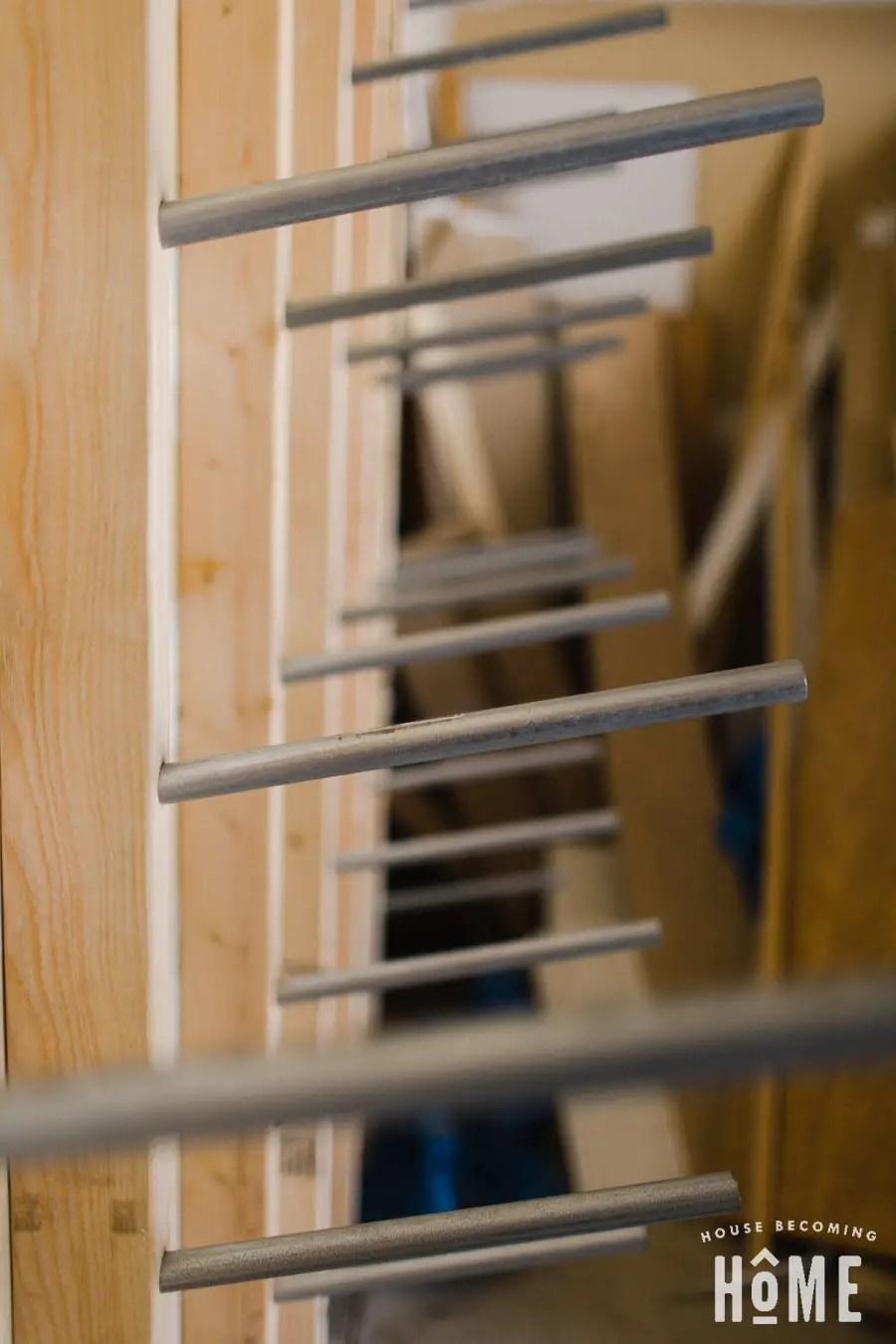 Close Up of Conduit in DIY Lumber Rack