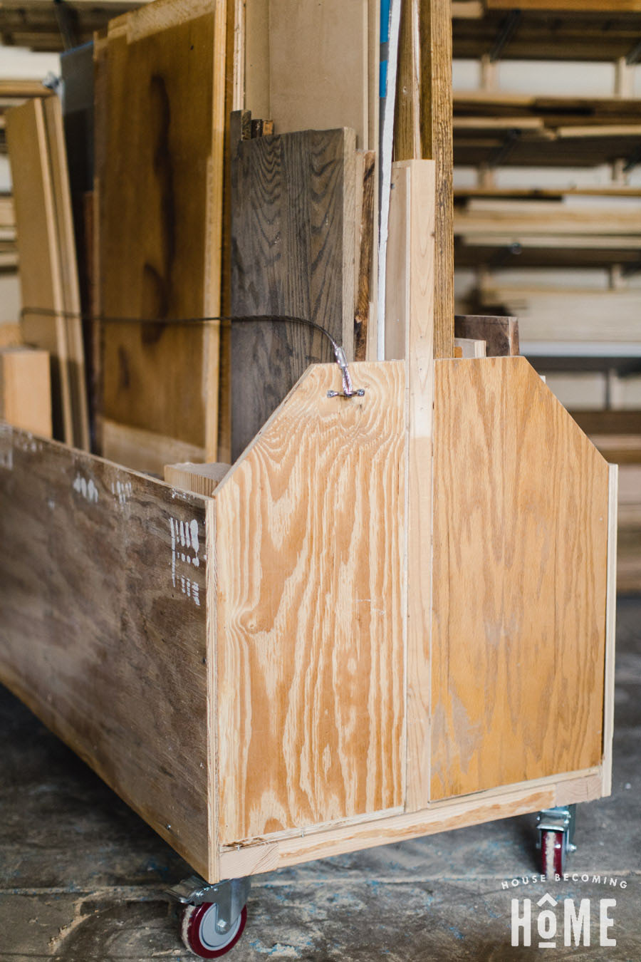 An affordable, simple, easy-to-build mobile cart to store and organize scrap lumber and plywood