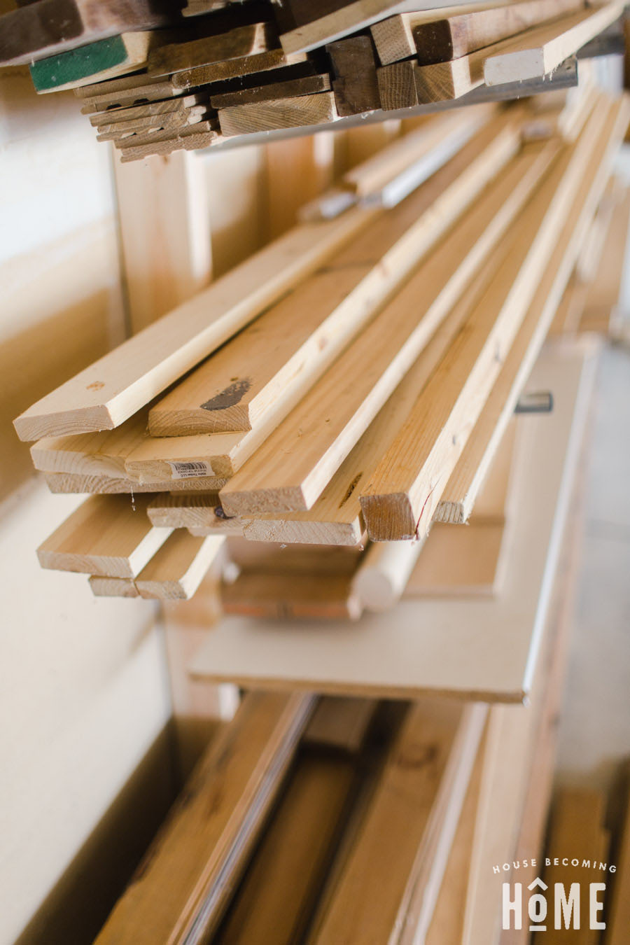 Lumber on a DIY Lumber Rack