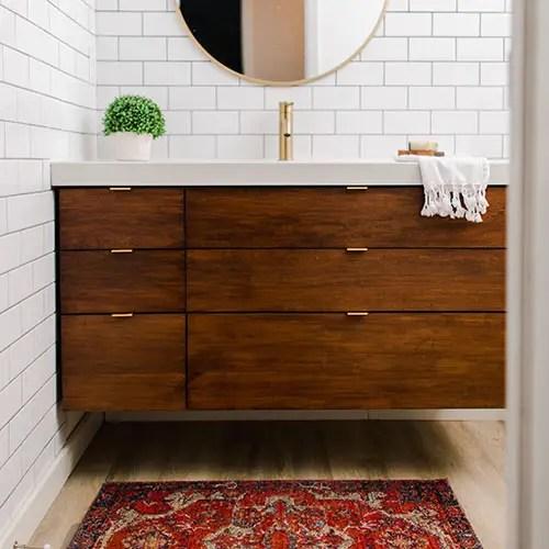DIY vanity Plans for Ikea Odensvik Sink. Cherry Wood Vanity. Printable Plans