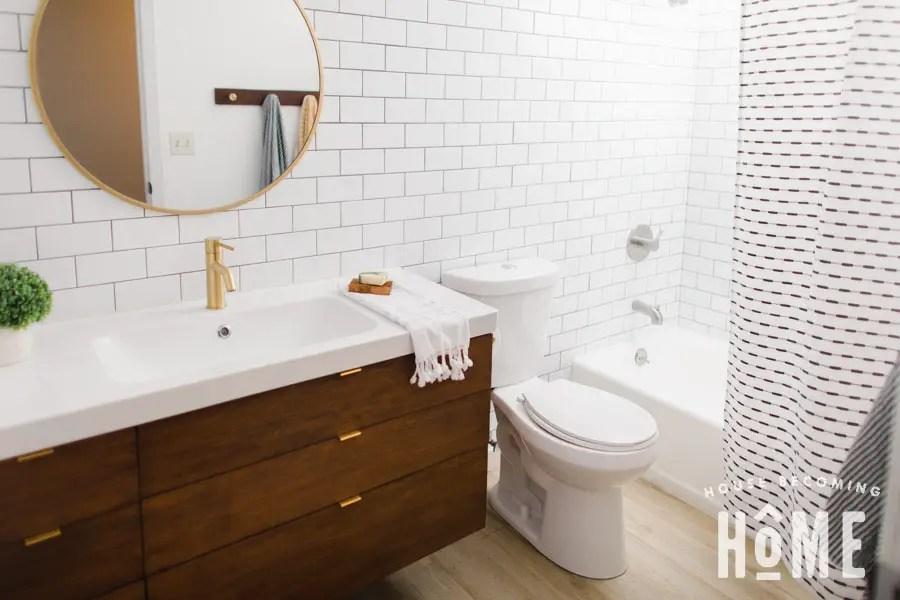 DIY Vanity with Ikea Odensvik Sink Full Bathroom View