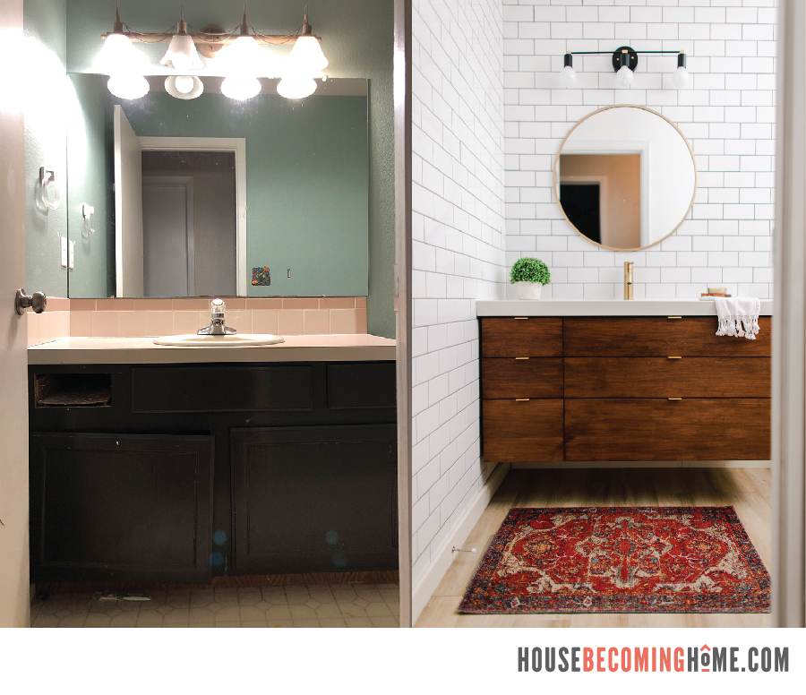 Small Bathroom Before and After Side by Side