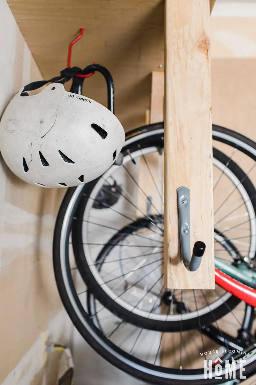 DIY Bike Rack Add a Hook for Helmets and Locks