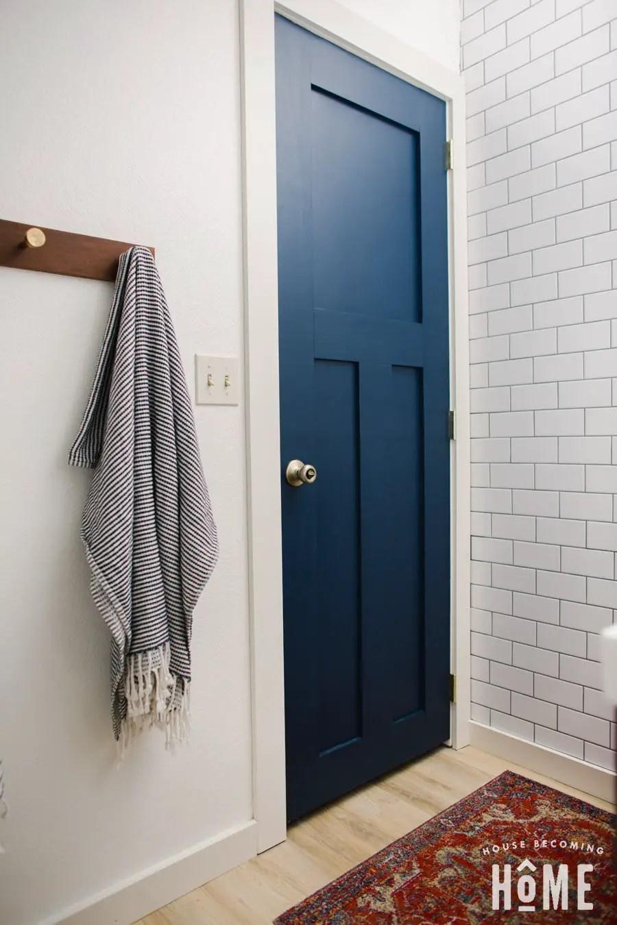 DIY Blue Bathroom Door Using Rockler Beadlock Pro Kit