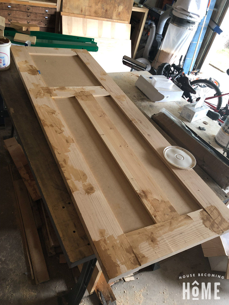 Wood Filler on DIY Door from Construction Grade Lumber