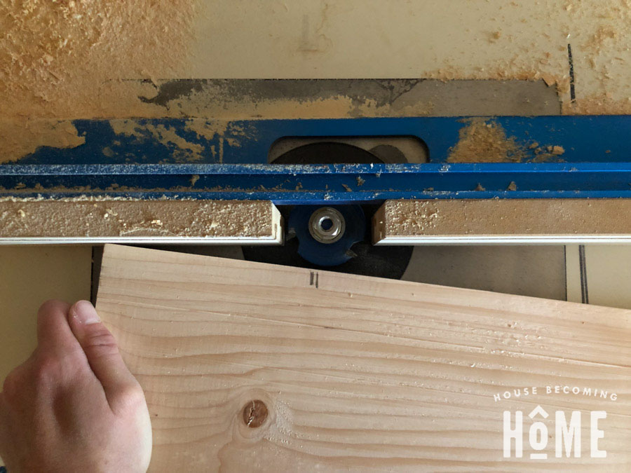 """Routing Slots in DIY Door with 1/4"""" slot cutter on router table"""