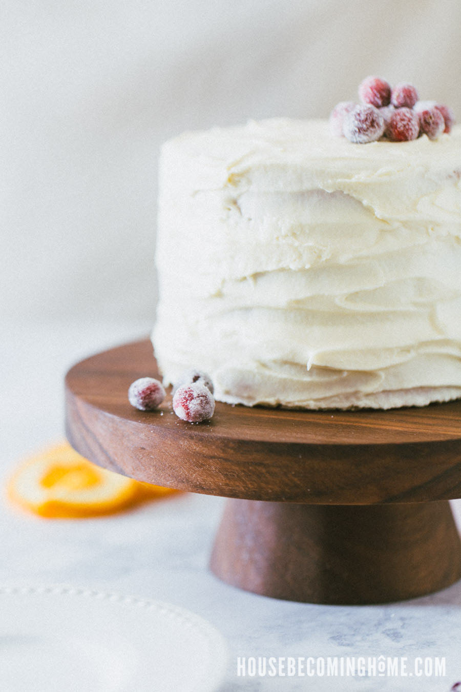 Orange Cranberry Cake on a DIY Walnut Wood Cake Stand