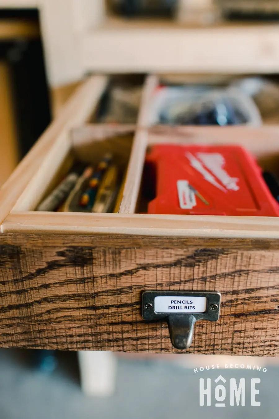 Antique Style Finger Pulls with Labels for Garage Workshop Drawers