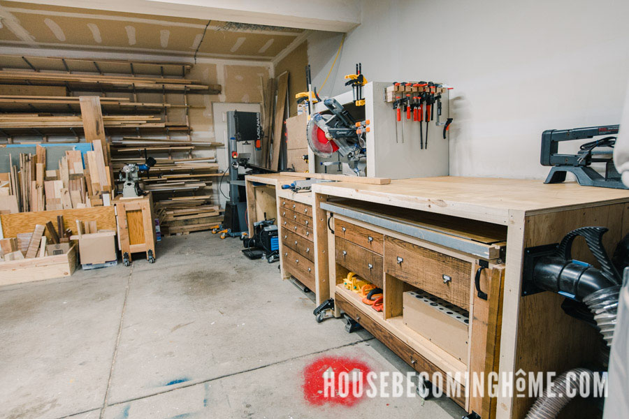 Woodworking Garage Workshop Large Miter Station