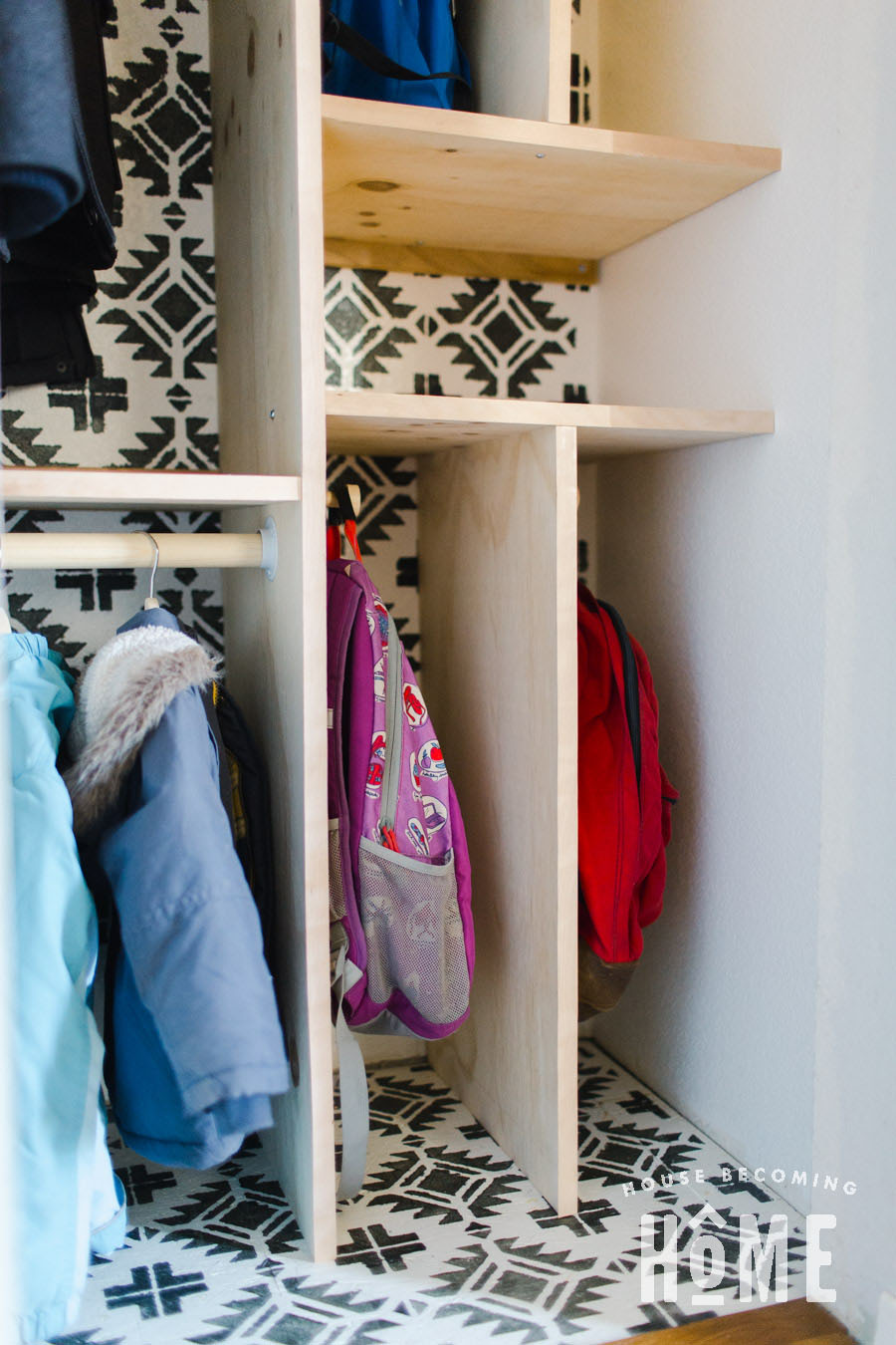 Small Coat Closet Makeover with Room for Four Backpacks