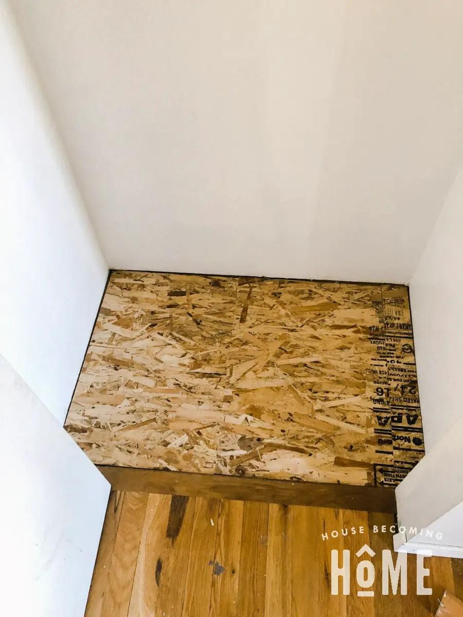 Stencil Floor Coat Closet