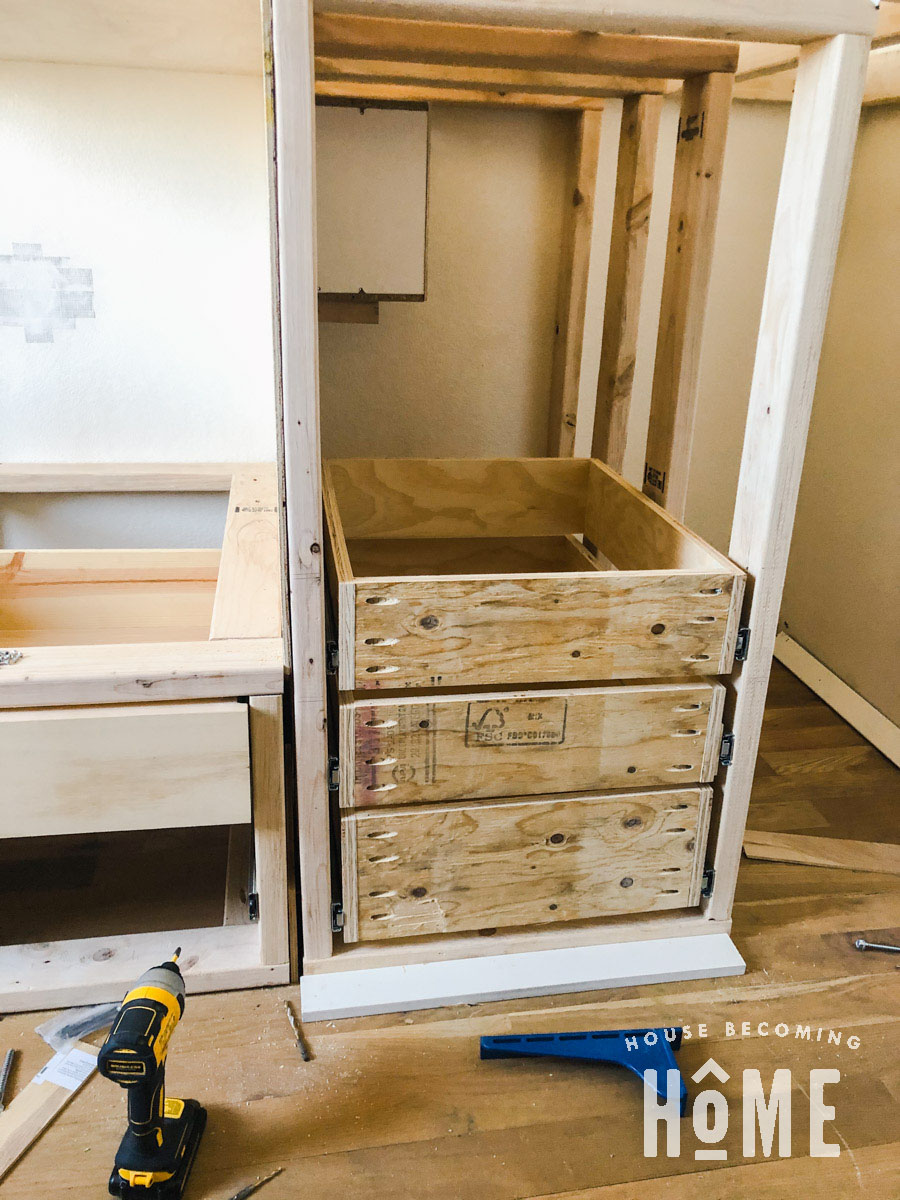 DIY Bunk Beds with Lots of Drawers