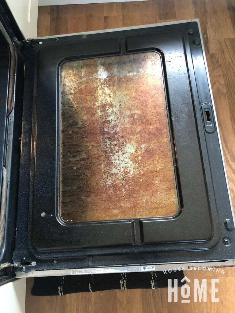 Oven Glass with Tough To Clean Grime