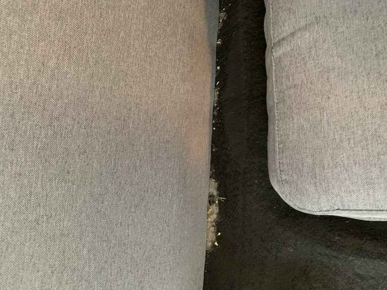 Dirty sofa before we cleaned with Miele vacuum