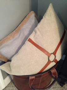 leather basket w/extra pillows