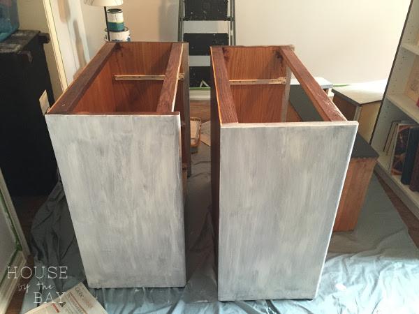 chalk paint dresser white streaks