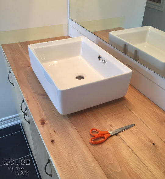 Bathroom Vanity DIY Wood Countertop and Vessel Sink One Room Challenge