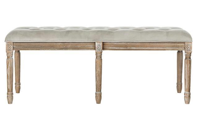"Rocha 47"" Tufted Wood Bench 