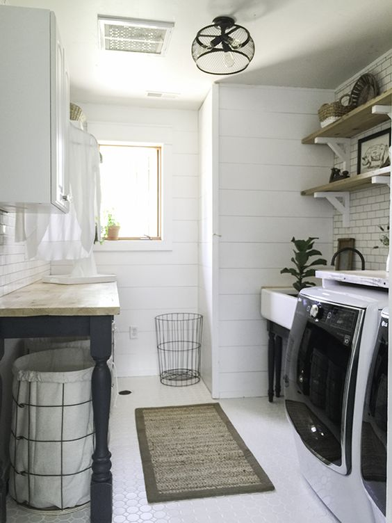 Laundry Room Inspiration | $100 Room Challenge | House by the Bay Design