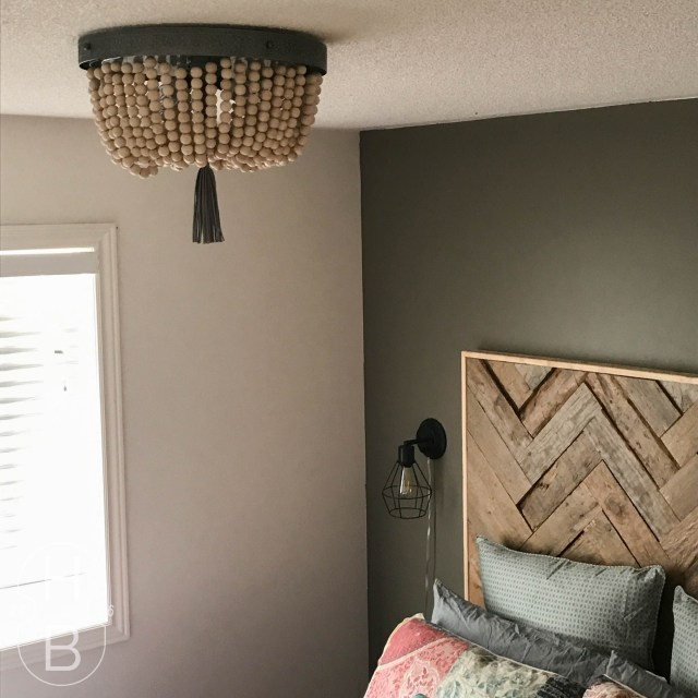 DIY Wood Bead Light Fixture | $100 Guest Room Makeover | House by the Bay Design