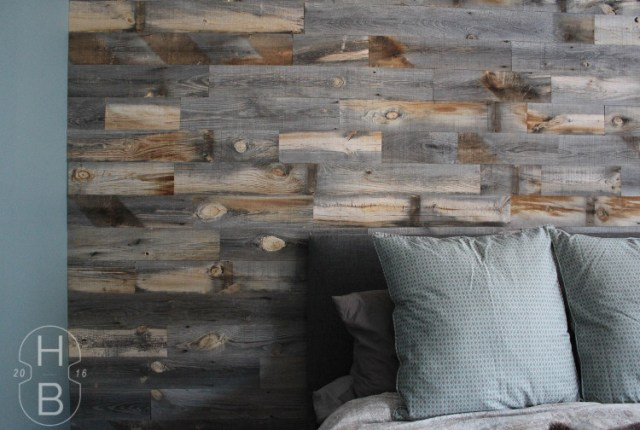 Master Bedroom DIY Feature Wall with Stikwood Weathered Wood   One Room Challenge   House by the Bay Design