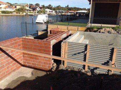 Pool and retaining walls.