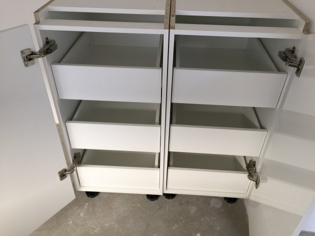 Pantry pull-out shelves.