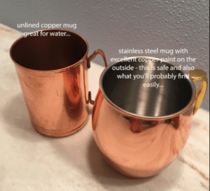 copper mug, copper cookware