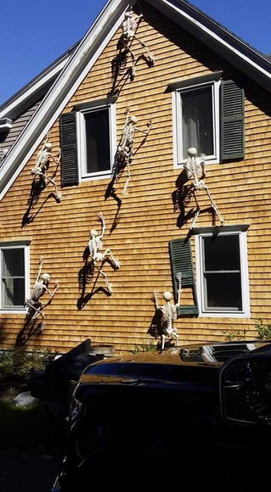 crazy Hallooween house decorating with skeletons