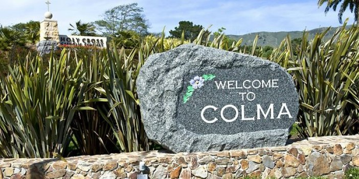Colma, CA welcome sign