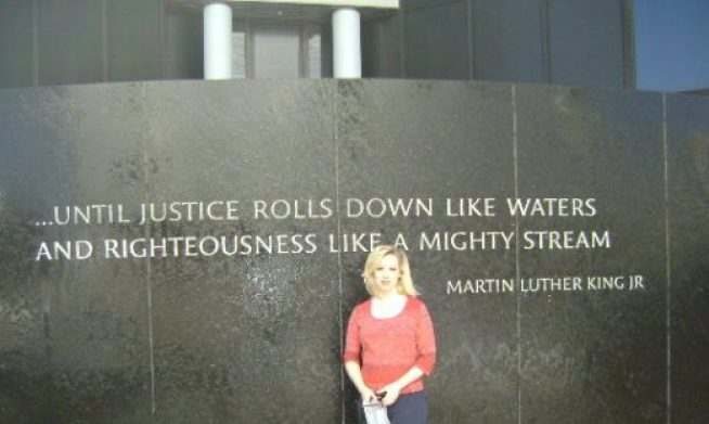 House Crazy Sarah in front of the Civil Rights Memorial