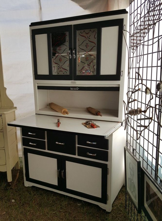 black and white Hoosier cabinet