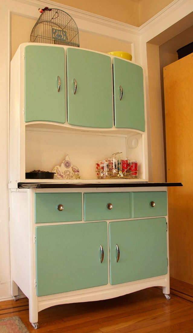 green and white hooiser cabinet