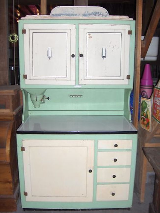 mint green and white Hoosier cabinet