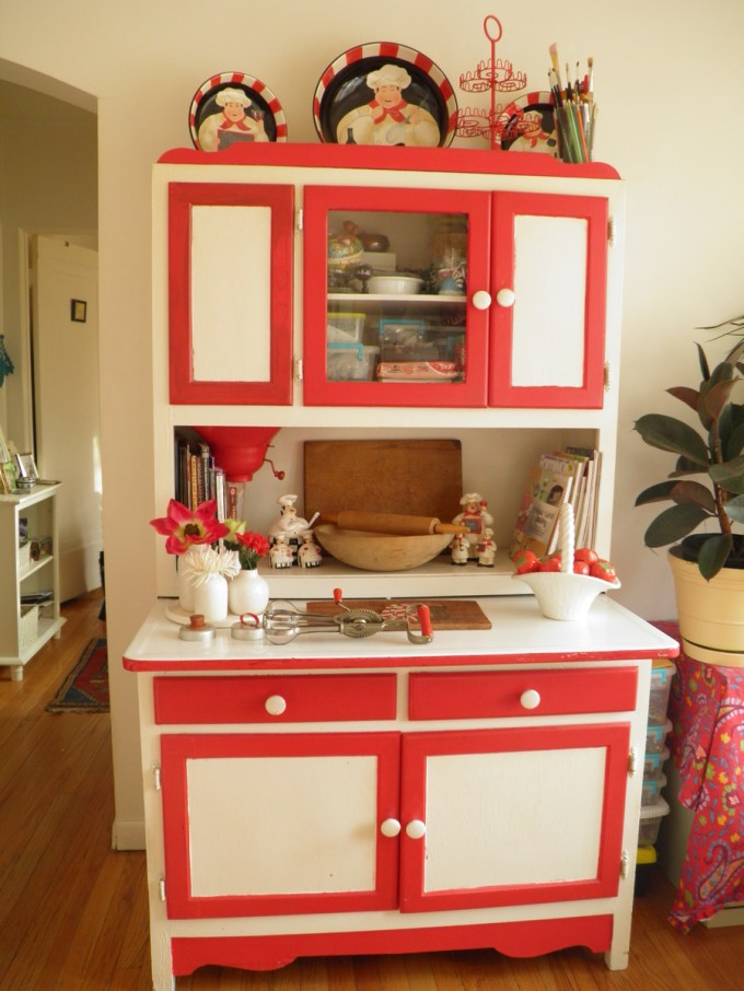 red and white Hoosier Cabinet