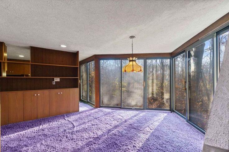 purple shag carpet in a 1970s home