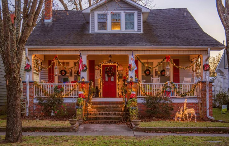 old house decorated for Christmas