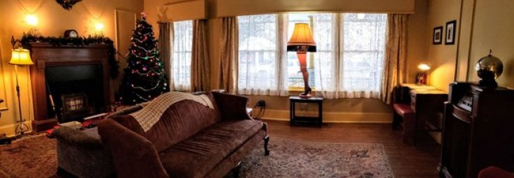 inside the real life A Christmas Story movie house living room