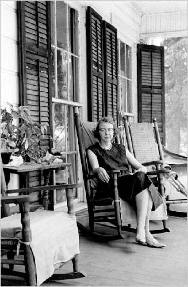 Flannery O'Connor at her home Andalusia Farm