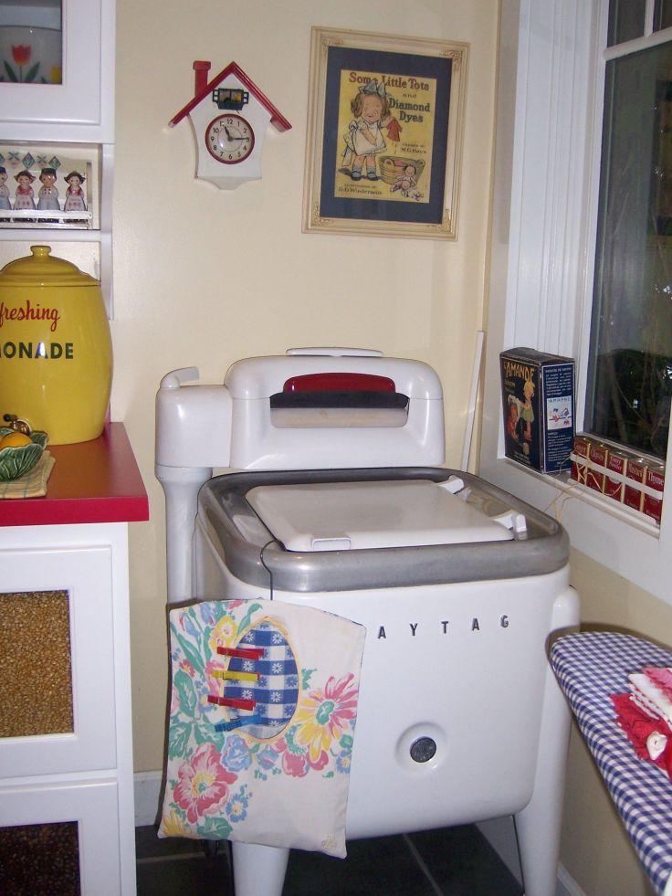 vintage washing machines as decoration