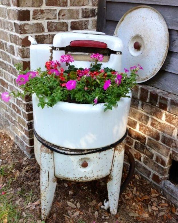 vintage washing machine planters