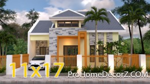 House Design 11x17 Meters 36x56 Feet 4 bedrooms